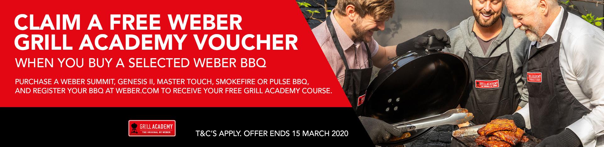 Claim a free Weber grill academy voucher