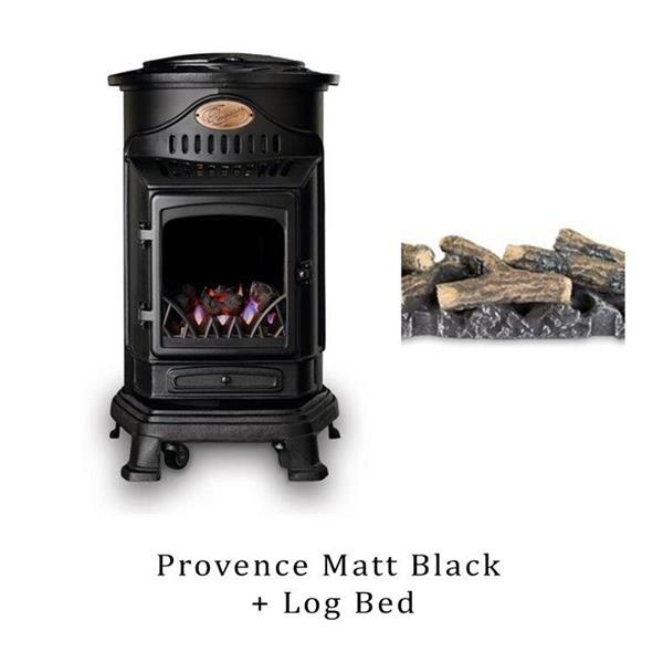 Provence Matt Black Gas Heater & Log Bed Image 1