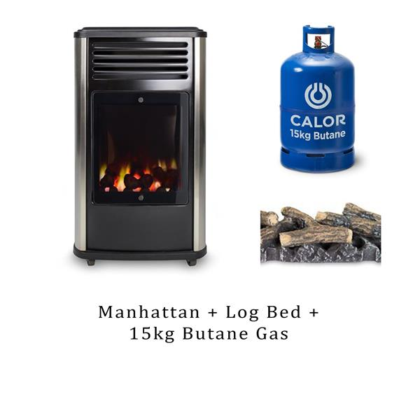 Manhattan Real Flame 3.4kW Living Flame Gas Heater, Log Bed & 15kg Butane  Image 1