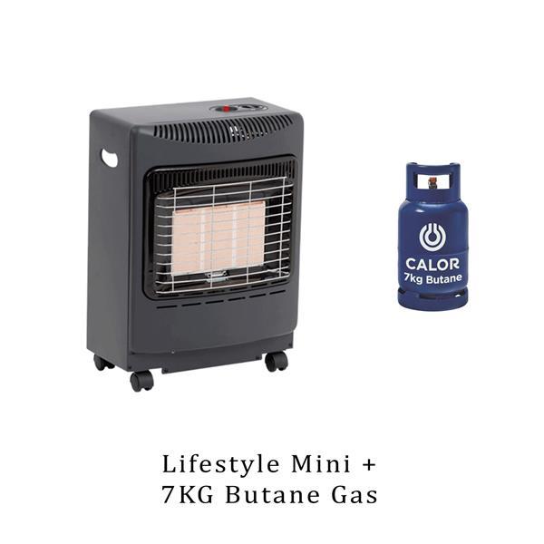Lifestyle Mini Heatforce Black 4.2kw Radiant Portable Gas Heater & 7kg Butane  Image 1