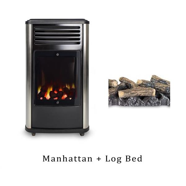 Manhattan Real Flame Heater & Log Bed Image 1
