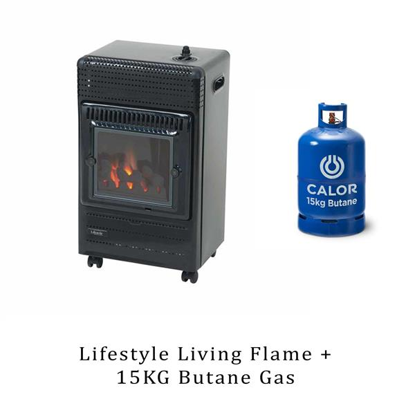 Lifestyle Living Flame 3.4kW Portable Gas Heater & 15kg Butane Image 1