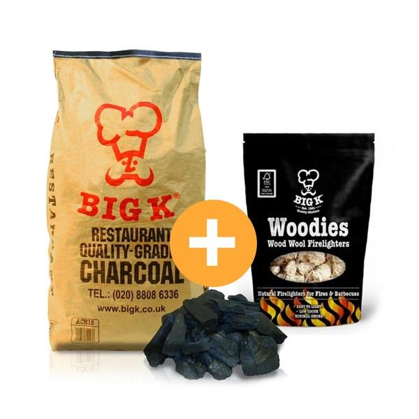 Big K 15kg Bagged Restaurant Charcoal & 1 Pack of Woodie Firelighters Image 1