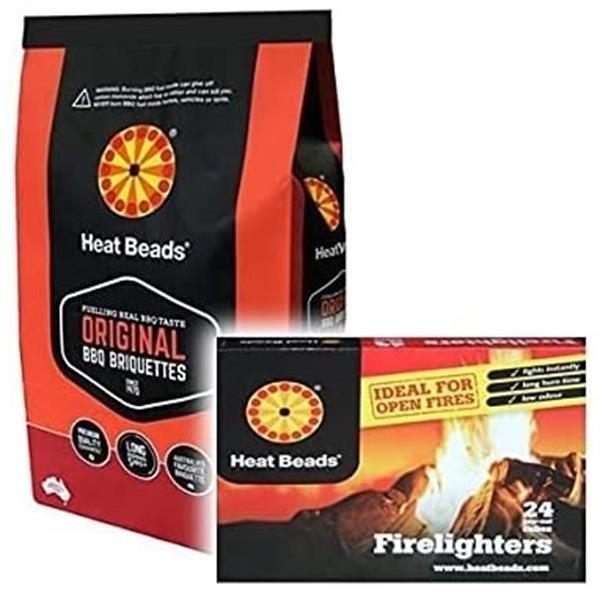 2 x 4kg Heat Bead Briquettes & 1 Pack Heat Bead Firelighters Image 1