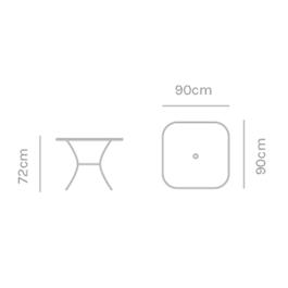 Kettler Square 90cm Mesh Table Thumbnail Image 1