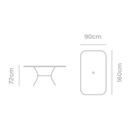 Kettler Rectangular 160 x 90cm Mesh Table Thumbnail Image 1