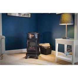 Provence Real Flame Effect 3.4kW Matt Black Gas Heater Thumbnail Image 8