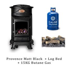 Provence Heater Matt Black, Log Bed & 15kg Butane Cylinder thumbnail