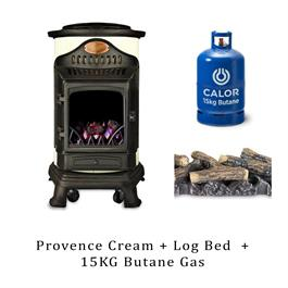 Provence Calor Cream Living Flame Heater, Log Bed & 15kg Butane Cylinder thumbnail