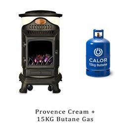 Provence Calor Cream Living Flame Heater & 15kg Butane Cylinder thumbnail