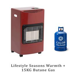 Lifestyle Seasons Warmth Red 4.2kw Radiant Portable Gas Heater & 15kg Butane thumbnail