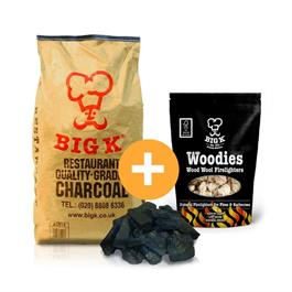 Big K 15kg Bagged Restaurant Charcoal & 1 Pack of Woodie Firelighters thumbnail