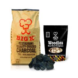 Big K 15kg Bagged Restaurant Charcoal & 1 Pack of Woodie Firelighters Thumbnail Image 1